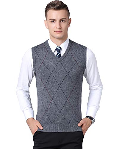 Classic Wool Vest - Kinlonsair Classic Mens V-Neck Sleeveless Jumper Vest Knitted Gilet Slipover Waistcoat Sweater Tank Tops Argyle