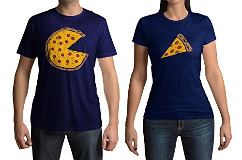 Pizza Pie & Slice Men's & Women's Matching Couples T-Shirt Set (Men's: 2XL, Navy|Women's: S, Navy)
