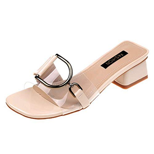 CYBLING Women's Slip-on Peep Toe Buckle Accents Clear Strap Dress Heeled Slide Sandals ()