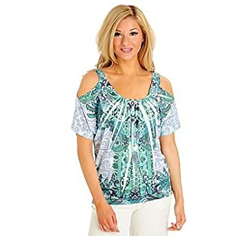 02628994faebef One World Cold Shoulder Banded Bottom Stretch Knit Printed Top (X-Large