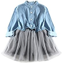 Girl Dresses❀Orangeskycn❀ Toddler Baby Girls Denim Dress Long Sleeve Princess Tutu Dress Cowboy Clothes