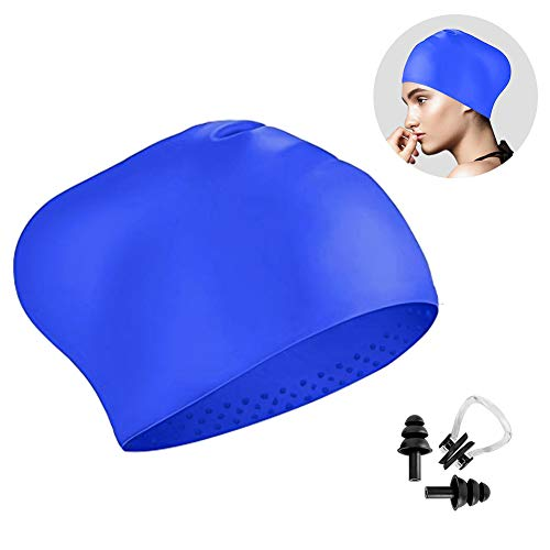 Trevoz Long Hair Swim Cap, Women Silicone Swimming Cap Unique Tail Design for Long Hair, Curly Hair, Dreadlocks Weaves, with Ear Plug and Nose Clip (Blue)