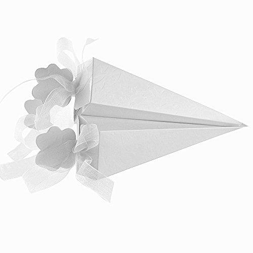 100 pcs Cajas Conos de Bombones para Guardar Arroz, Caramelos, Galletas Pequenas Regalo, Detalle, Recuerdo, Decoracion, Favor para Invitados de Boda (4x4x15,5 cm) (Blanco)