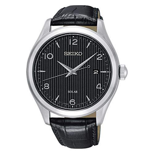 Seiko SNE495 Men's Solar Black Dial Black Leather Band Dress 100M Watch -