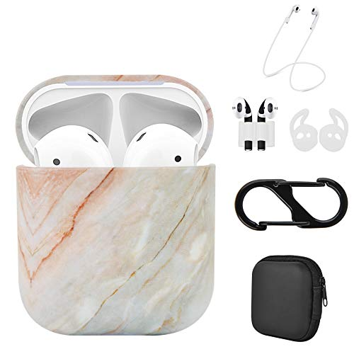 Luvcase 5 in 1 Airpods 2 & 1 Pattern Design Case, Accessories Kits for Airpods Charging Cover Skin with Ear Hook Grips/Airpods Straps/Watch Band Holder/Airpods Case Holder (Granite - 1 Full Body Kit