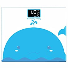 E.life Cartoon Animal Whale Body Fat Scale Balance High Accuracy with Easy-to-Read Backlit LCD Mini Electronic Weighing Scale Fit for Toddler Girls (Blue Whale)