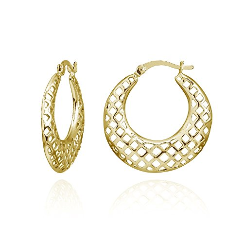 Yellow Gold Flashed Sterling Silver High Polished Lightweight Round Square-Cutout Hoop Earrings (Cut Out Round Earrings)