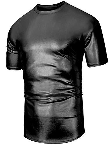 Daupanzees Mens Metallic Shiny T Shirt Vintage Retro Glitter Costume Disco Party Hipster Hip Hop Pullover T Shirt -