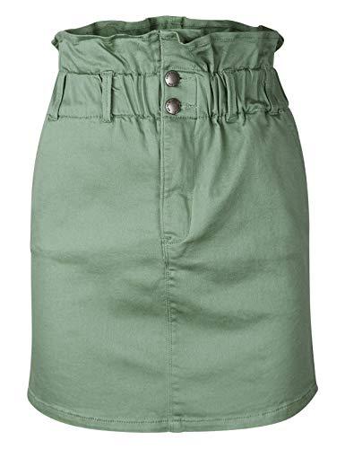 makeitmint Women's Paper Bag Elastic Waist Mini Skirt w/Pockets [5 Colors] YBSK0041-SAGE-SML