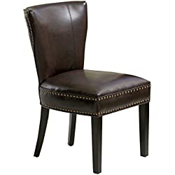 Best-selling Jackie Leather Accent Dining Chair, Brown