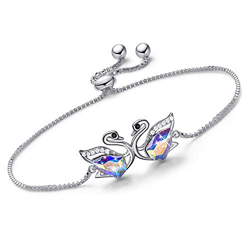 - CDE Swan S925 Sterling Silver Swarovski Crystals Bracelet Adjustable Fine Jewelry Swan Bracelets Animal Gifts, Gift for Mothers Day