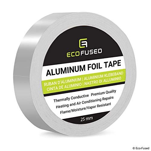 Premium Adhesive Aluminum Foil Tape - for Heating and Air Conditioning Repairs - Thermally Conductive - Flame/Moisture/Vapor Resistant - Heat and Light Reflective - Arts and Crafts, Home Interior