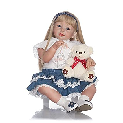 Amazon.com  MaiDe 70cm Lifelike Reborn Baby Realistic Soft Silicone Toddler  Girl Dolls Blonde Long Hair for Women Girls Gift  Toys   Games f327984686