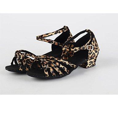 Plata de Zapatos Latino No Cuadrado Oro Negro Tacón leopard baile Personalizables aCttwdqgx