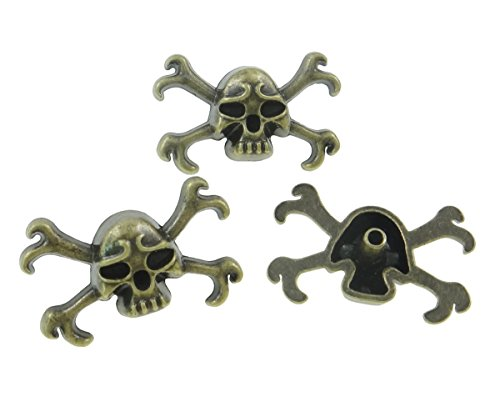 10Sets Antique Brass Skull and Crossbones Rivet Leather Concho RV095 ()