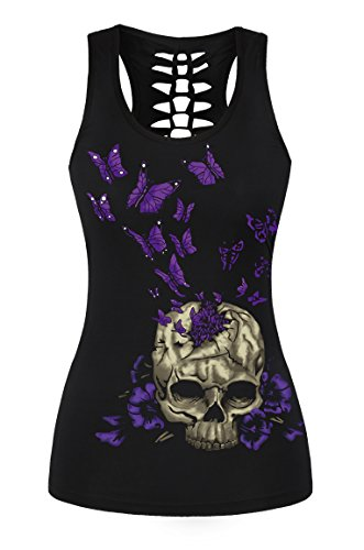 FISACE Women's Skull Print Hollow Out T-shirt Crew Neck Sleeveless Plus Size Tank Top – Small, Purple