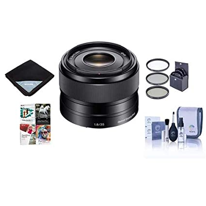 Sony 35mm F/1 8 OSS E-mount NEX Camera Lens - Bundle with Filter Kit  (UV/CPL/ND2), Lens Wrap, Cleaning Kit, Special Professional Software Package