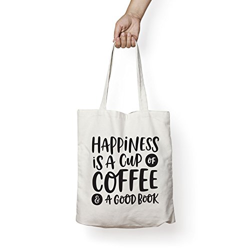 HAPPINESS IS A CUP OF COFFEE & A GOOD BOOK - Canvas Tote Bag