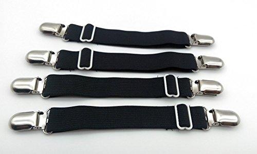 Angelkiss 4er-Pack Verstellbare Elastische Bettlakenspanner Betttuchspanner Spannbettlakenhalter mit Metallklammern für Bettlaken und dünne Bettdecken (schwarz)