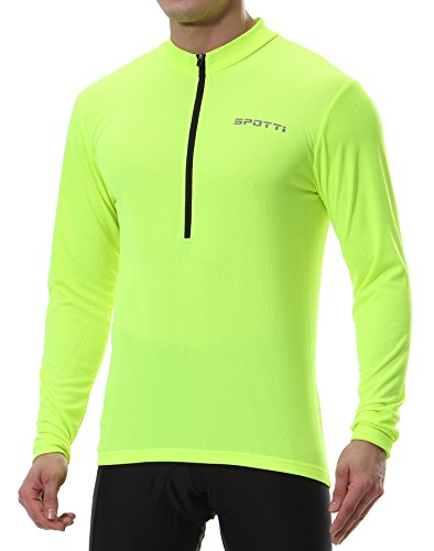 Spotti Men's Long Sleeve Cycling Jersey, Bike Biking Shirt- Breathable and Quick Dry (Chest 42-44 - XL,Yellow)