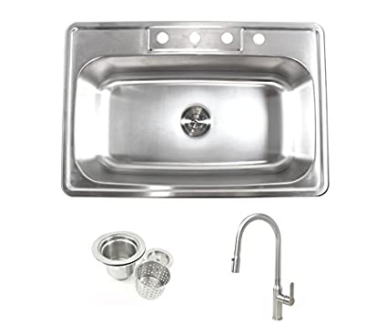 33 inch stainless steel top mount drop in single bowl kitchen sink 33 inch stainless steel top mount drop in single bowl kitchen sink and lead free faucet workwithnaturefo
