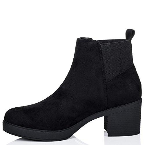 SPYLOVEBUY POPCORN Mujer Tacón Bloque Chelsea Boots Botines Negro - Gamuza Sintética