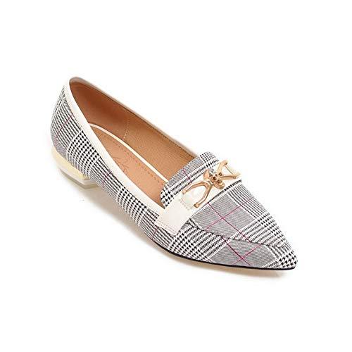 Shoes White Casual Checkered BalaMasa Urethane APL10787 Charms Womens Pumps xTfOwYBq