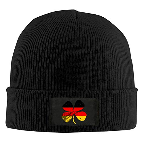 Shadidi Mens,Womens Germany Flag Guitar Clover Beanie Hat, Skull Caps, Warm Winter Knit Plain Knit Cuff Hat Outdoor Sports