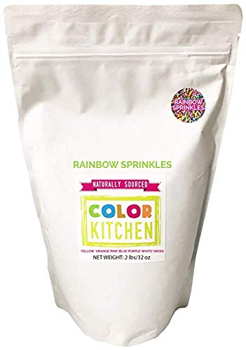 ColorKitchen Rainbow Sprinkles (2lb Bulk Bag) - All Natural, Plant-Based Ingredients