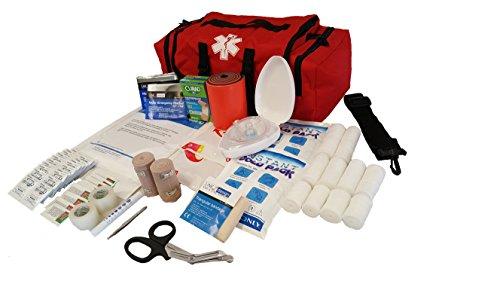 LINE2design EMS, Emergency Fire Responder Rescue Trauma First Aid Kit Bag, Lifeguard - EMT - Paramedic - Red -