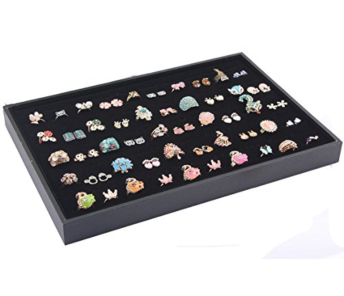 (Homanda Black 100 Slots Velvet Earring and Ring Jewelry Display Organizer Holder Tray Showcase)