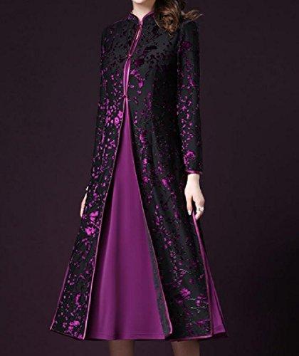 Solid 2Pcs Pattern2 Printed Banquet Chinese Skinny Comfy Qipao Women's Dress 5w6Pga