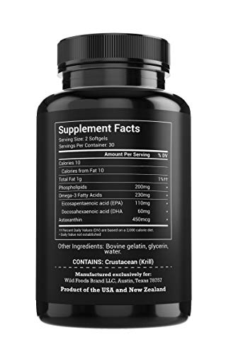 Wild Krill Oil (Antarctic) - Double Strength, 60 Softgels - 1000mg of Antarctic Krill Oil with Omega-3s EPA, DHA, Essential Phospholipids and Astaxanthin - Heavy Metal Tested! (6 Bottles) by Wild Foods (Image #1)
