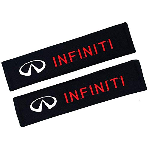 Altergo Seat Belt Covers for Infiniti Cars Embroidered Badge Adults and Children Shoulder Pad Opening Acrylic 2 Pack