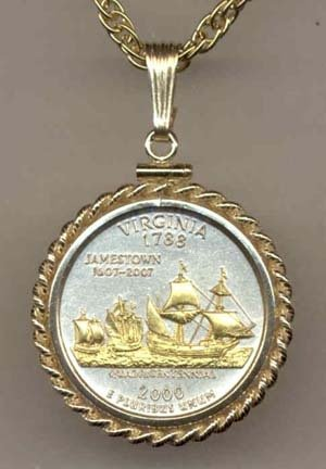 (Virginia Two Tone Rope Bezel Statehood Quarter with 18