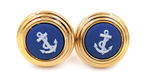 Wedgwood: Gold Plate & Blue Jasperware Earrings