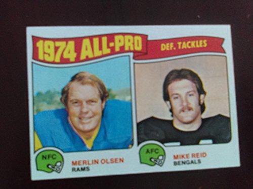 - 1975 Topps # 215 All-Pro Defensive Tackles Merlin Olsen / Mike Reid - Los Angeles Rams HOFer / Cincinnati Bengals (Football Card)