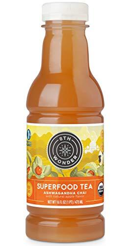 8th Wonder Organic Ashwagandha Chai Tea, All Natural, Low Calorie Superfood Iced Tea  Ashwagandha Apple Chai Tea   16 Fluid Ounce Bottled Tea Pack of 6   Uplift Energy, Reduce Stress
