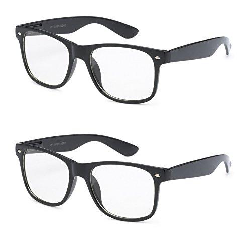 Kids Children Costumes Toddler Wayfarer Spring Hinge Fashion Clear Lens UV Protection Glasses (2 Wayfarer Clear - Toddler Nerd For Glasses