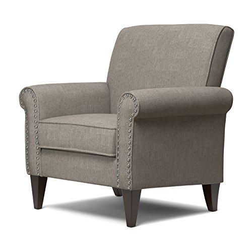 Transitional Jean Dove Grey Linen Espresso Finish Arm Chair