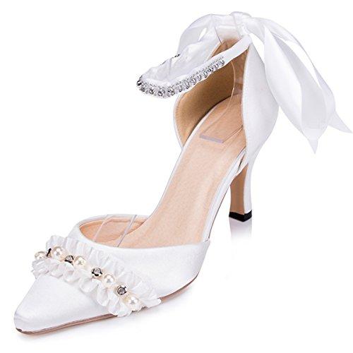 Kevin Fashion Zms1501 Vrouwen Spaghettibandjes Satijn Bruids Partij Avond Prom Pumps Schoenen Ivoor