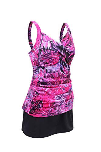 JINXUEER Women's Plus Size Swimwear Floral Tankini Set Ruched Modest Two Piece Skirt Swimsuit (Purpleleaf, 12)