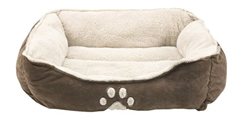 Sofantex Pet Bed - Fit Medium Sized Dog / Fat Cat, Machine Washable, Ultra Soft Pet Sofa - Dark Coffee - Husky Paw Print