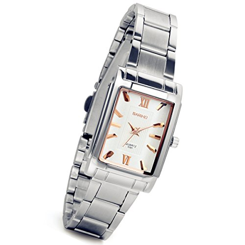 Women's Square Watch Silver Bracelet Bangle White Dial Elegant Design Fashion Wrist Watches with Stainless Steel Band
