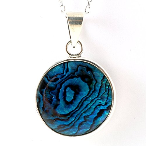 Sterling Cabochon Silver Handmade Pendant (Sterling Silver Natural Blue Paua Abalone Shell Cabochon Handmade Round Pendant Necklace 16+2'' Chain)