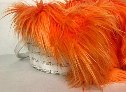 Bianna Luxury Faux Fur Shag Shaggy Fabric Piece/DIY Craft Project/Photo Prop Backdrop/Basket Filler/Fursuit/Trim (Lorax Orange, 20x20 inches)]()