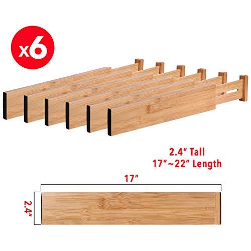 MoMA Bamboo Drawer Dividers (Set of 6) - Bamboo Natural Wood Kitchen Drawer Organizer - Anti-Scratch Desk Organizer - Dresser Silverware Utensil Drawer Organizer