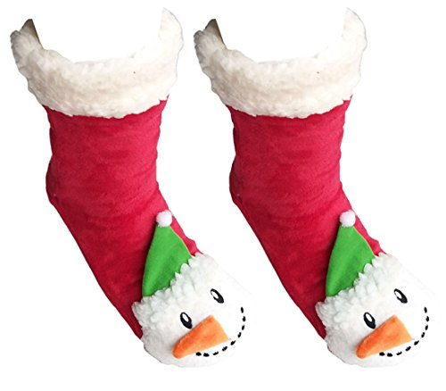 Coolwife Womens Slipper Socks Fleece Lining Christmas Knee Highs Knit Animal Stockings (Snowman)