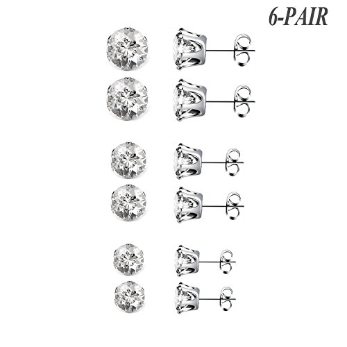Besjewel 6 pairs Stud Earrings Sparkling Cubic Zirconia 316L Surgical Stainless Steel Hypoallergenic Earrings, 3mm-5mm