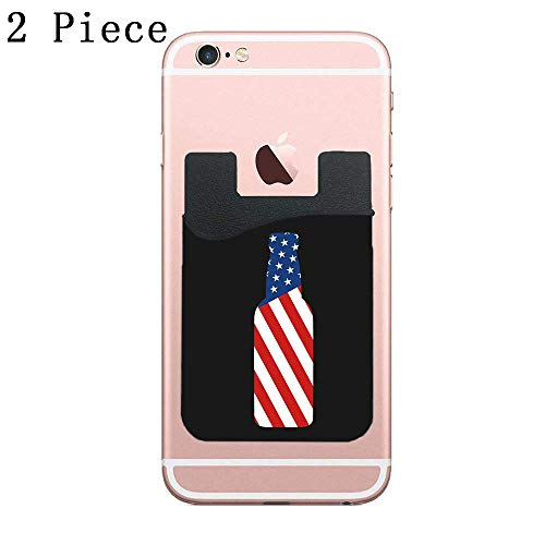 ZninesOnhOLD Phone Card Holder Adhesive Stick-on Credit Card Wallet Phone Case Pouch Sleeve Pocket for Most of Smartphones(iPhone/Android/Samsung Galaxy) - (Beer Bottle USA 2pc)